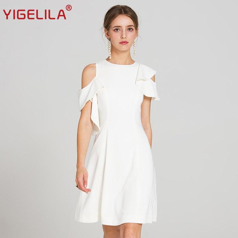 YIGELILA 2019 último verano Mujer moda cuello redondo sin mangas volantes imperio A line rodilla longitud blanco vestido Casual 62874-in Vestidos from Ropa de mujer    1
