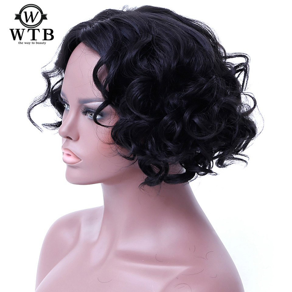 WTB 12 Inch Short Wavy Curly Bob Cosplay Wigs Black Wigs For Women Heat Resistant Synthetic For Arican American