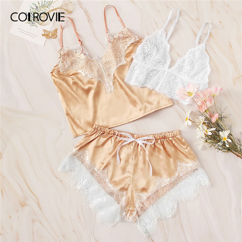 COLROVIE Floral Lace Satin Lingerie   Set   3pack 2019 Summer   Pajamas   For Women Sexy   Sets   Ladies Wireless Bra And Shortie Sleepwear