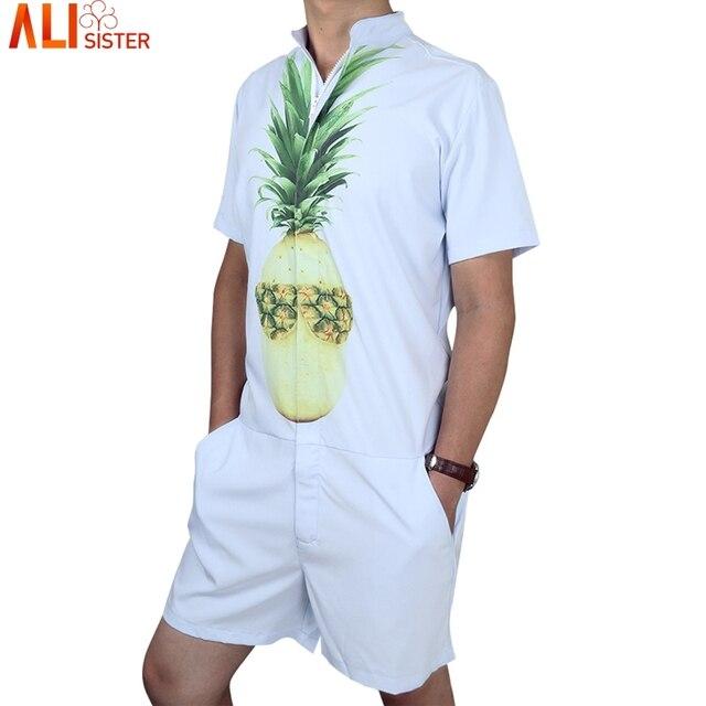 1cd928bcf Pineapple Print Men s Rompers Short Sleeve Jumpsuit Romper Hoiday ...