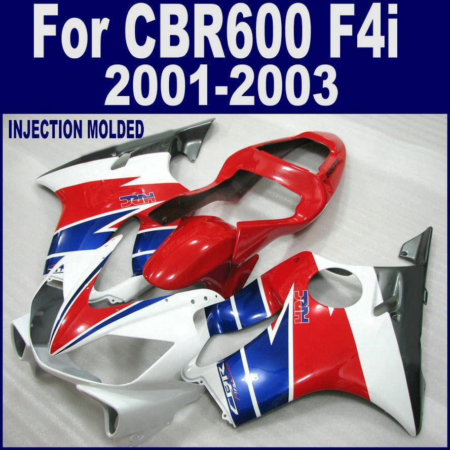 100% Injection molding for HONDA CBR 600 F4i white red fairings 01 02 03 CBR600 F4i 2001 2002 2003 custom fairing LVAS