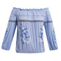 Women Blouse Elegant Bow Blue Off Shoulder Female Blouse Shirt Floral Ruffles Lantern Sleeves Sexy Summer