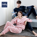 Ndy Winter cute korean pajamas Coral fleece Couples sleepwear  woman Long sleeve Man  Movement version Flannel leisure wear