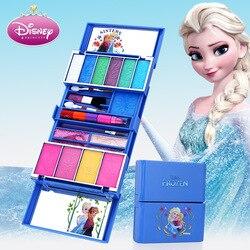 Disney crianças cosméticos brinquedo princesa caixa de maquiagem conjunto congelado menina casa brinquedo gloss lábios rouge presente natal do bebê