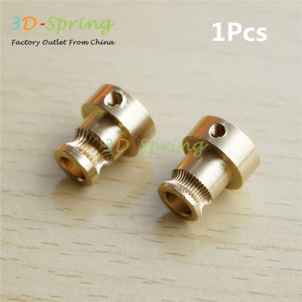 1Pcs Reprap Mendel Extruder Drive Gear For 1.75mm 3mm Brass Bore 5mm 3d Printer Feeding Hobbed Wheel Squeeze Feed Wheel m6 feed shaft axis reprappro mendel huxley for 3d printer