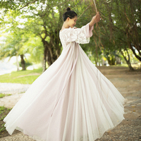 MM190 Original Design Autumn 2017 new arrivals women embroidered tulle and chiffon long maxi loose a line vintage dress