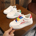 Весенне-осенние радужные Детские кроссовки на шнуровке  размер 26-36  модные кроссовки для девочек и мальчиков  новая обувь на плоской подошве...