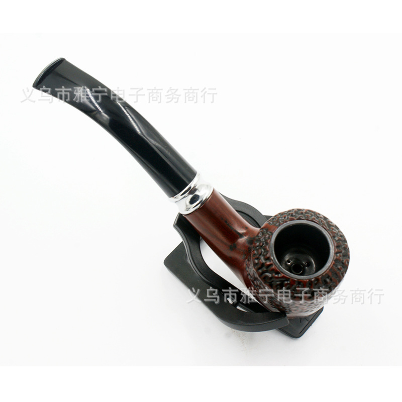 Classic Wood Grain Resin Pipes Chimney Filter Long Smoking Pipe Tobacco Pipe Cigar Gifts Smoke Narguile Weed Grinder Mouthpiece
