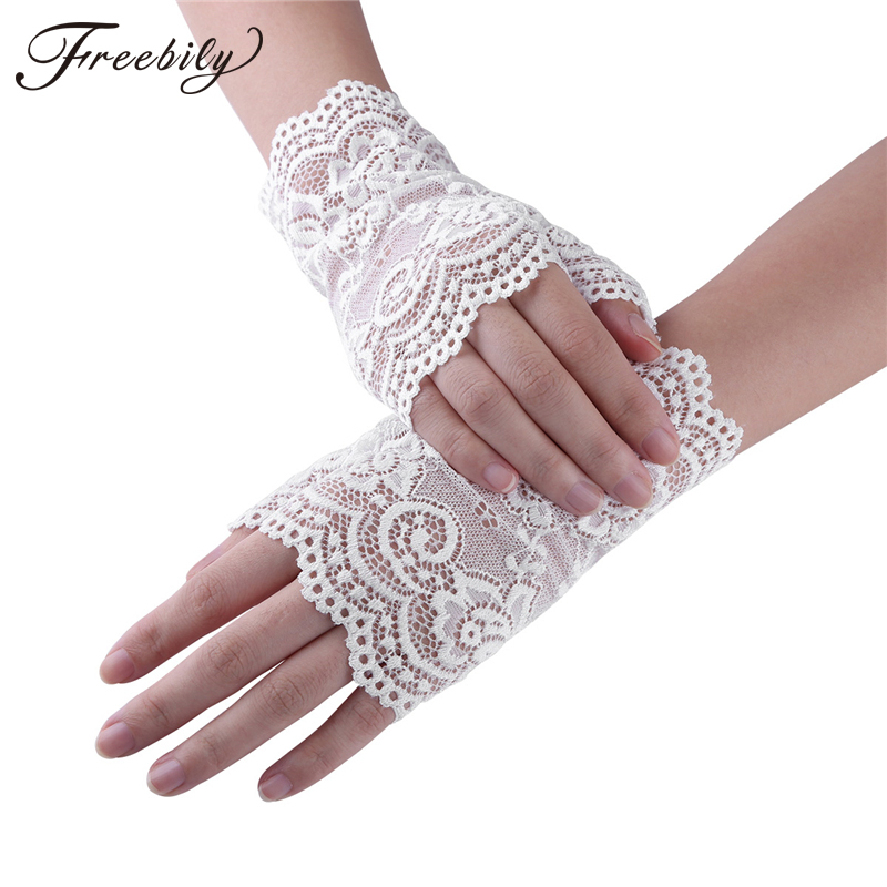 Women Lace Gloves Short Floral Lace Half Finger ladies gloves Wrist Length Party Dress gloves women Driving Sunscreen Gloves