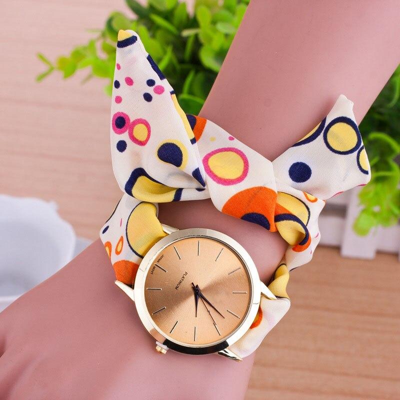 Cindiry Женщины Цвет Dot Ткань Ремешок Наручные Часы Дамы Цветочные Браслет Кварцевые Часы Мода Часы Relojes Mujer P25
