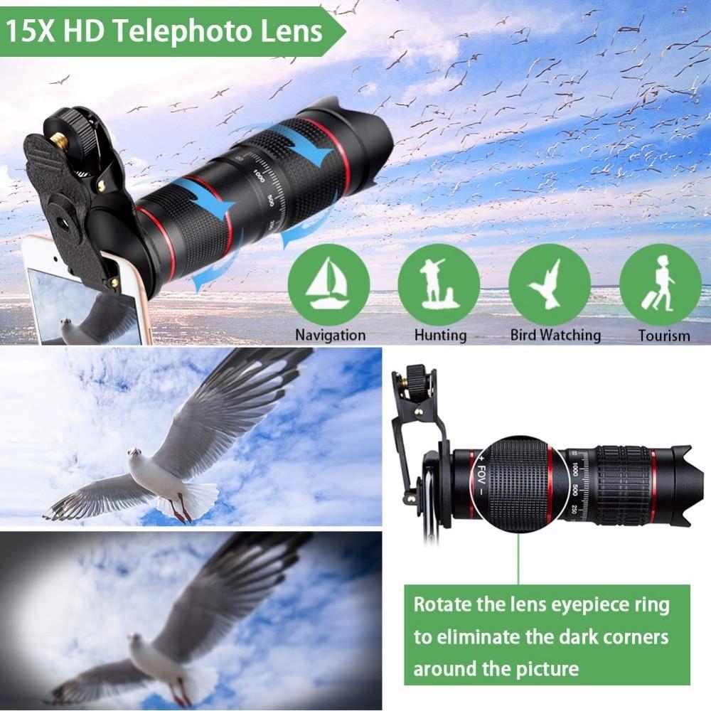 Kits d'objectif de caméra de téléphone à Double régulation: téléobjectif 15X + objectif grand Angle et Fisheye et Macro (2 objectifs) pour la plupart des iOS, Android - 4