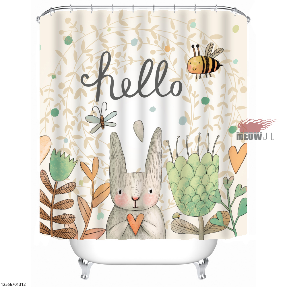 Bunny Rabbit Gorgeous Girl Cute Animal Custom Shower Curtain Bathroom Decor Various Sizes Free Shipping