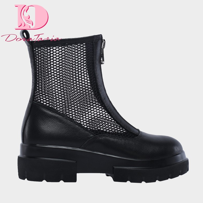 DoraTasia zip up Brand square heels genuine leather air mesh summer boots women shoes fashion Ins ankle boots cow leather shoesDoraTasia zip up Brand square heels genuine leather air mesh summer boots women shoes fashion Ins ankle boots cow leather shoes