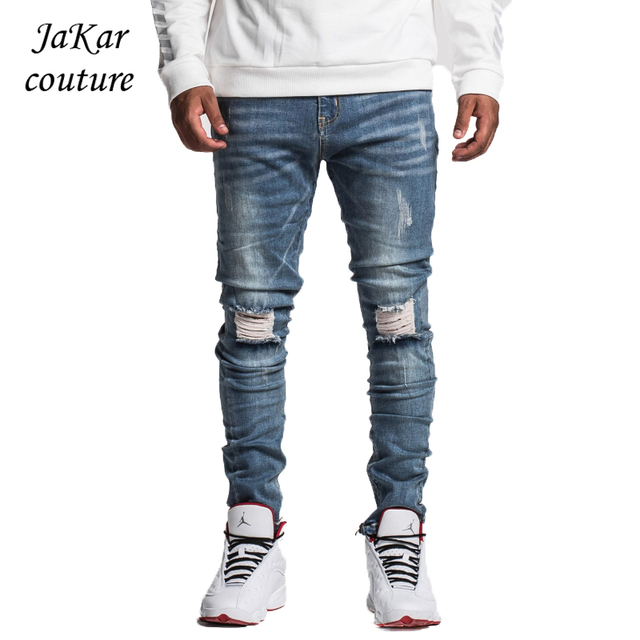 77f2f023430d JaKar Ripped Jeans Men Blue Slim Fit Skinny Male Jeans 2018 Jogger Vintage  Fashion Zipper Motorcycle Biker Denim Jeans Trousers