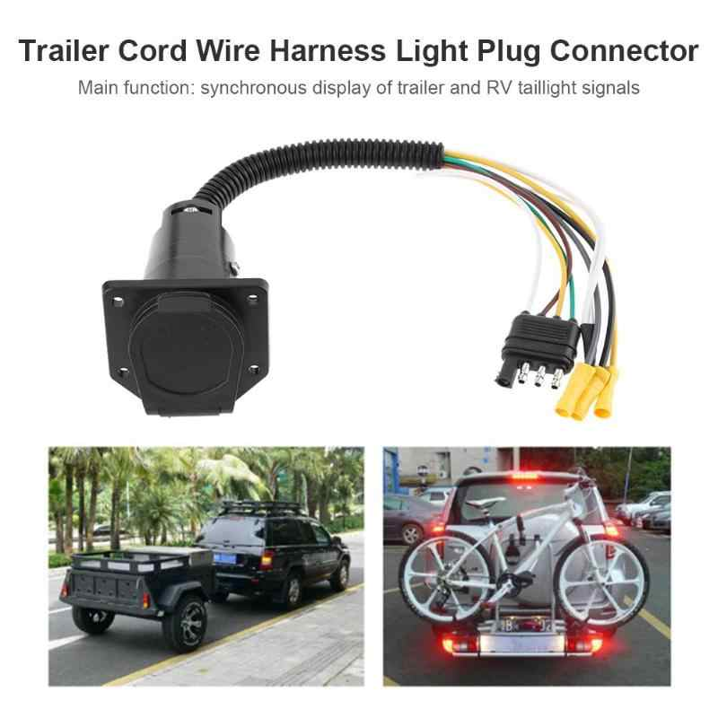 7 Way Round to 4 Pin Flat Trailer Wiring Adapter Plug Light ...  Pin Wiring Harness on