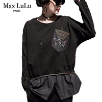 Max LuLu Fake 2 Pieces Luxury Girls Knitted Streetwear Womens Spring T Shirts Holes Harajuku Female