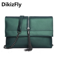 DikizFly Fashion Day Clutches High quality Flap Chains bag for women messenger bags cover solid soft handbags Female Clutch 2017