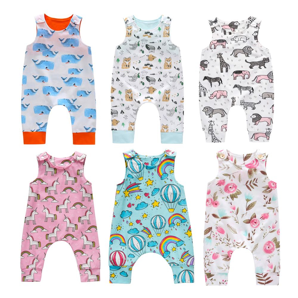 Newborn New Baby Kids Toddler Boys Girl Clothes Sleeveless Short and Long   Romper   Floral Cotton Printed Jumpsuit Playsuit Sunsuit