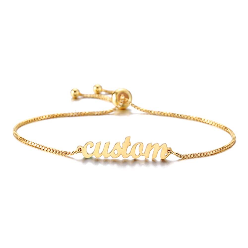 Custom Name Bracelets for womens mens gold silver pulseras gypsy joyeria autism Cute Cuff Bangle Bar Party Jewelry