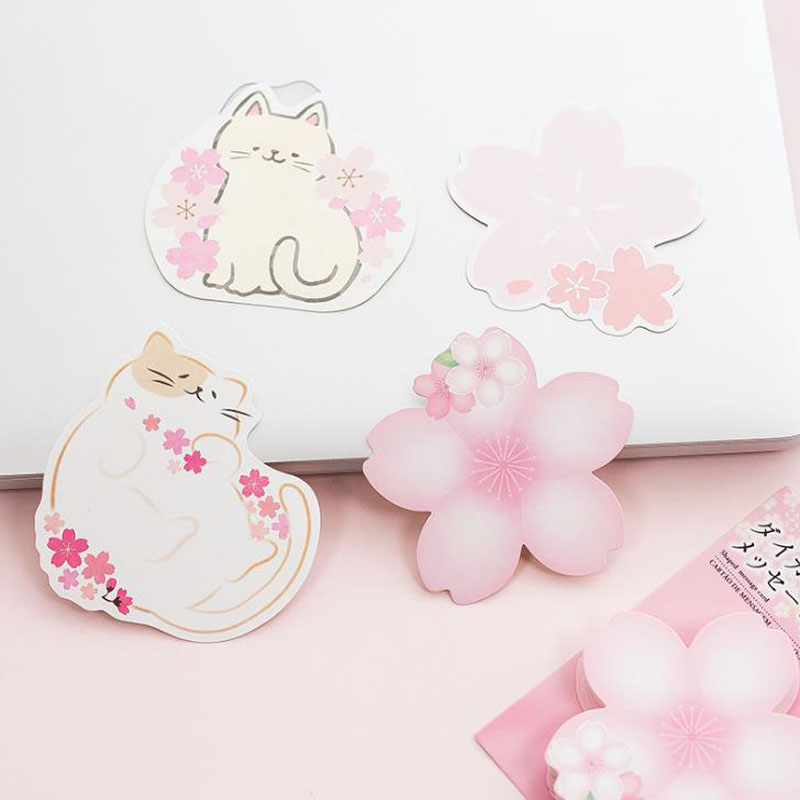 1 Pcs Hot Memo Pads Kawaii Stickers Cherry Blossoms Sticky Notes School Supply Bookmark Notepad Label