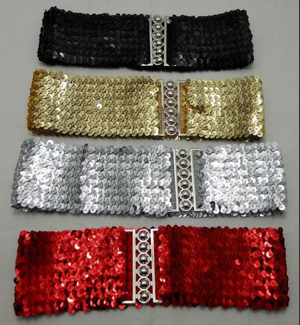 Woman 7.5cm Metallic Sequin wide Cummerbund Gold+Black+Silver +red Dress Wide Stretch Belt