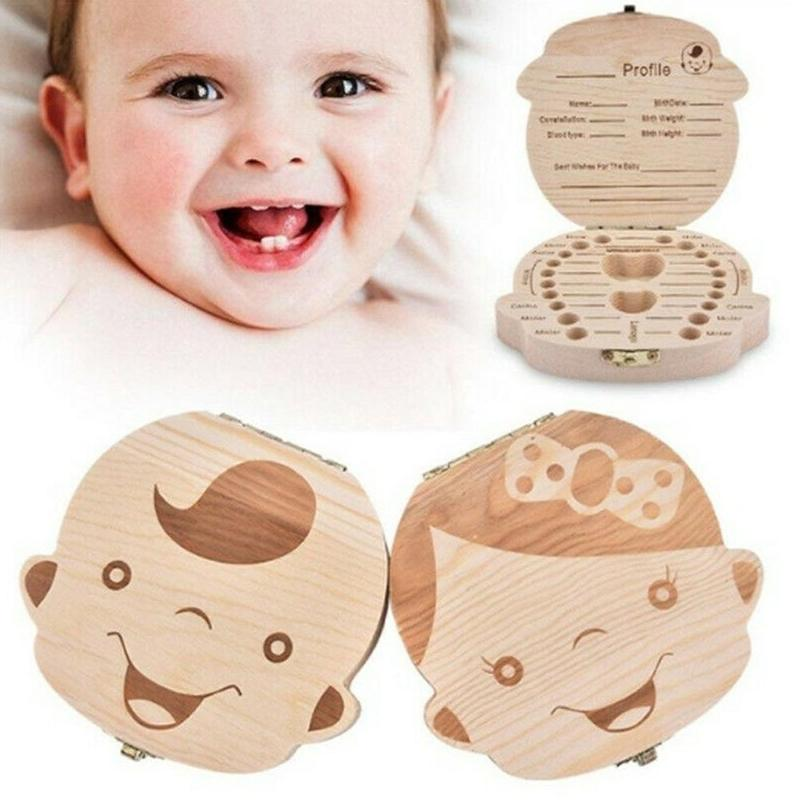 Milk Teeth Storage Collect Creative Gift Wood Baby Girl Boy Tooth Organizer Boxes Save Deciduous Teeth Storage Collecting