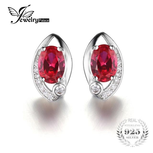 Jewelrypalace olho 2.3ct criado rubi vermelho brincos do parafuso prisioneiro do vintage 925 prata marca charme moda 2016 nova jóias finas