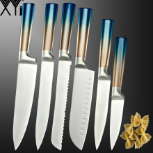 XYj Stainless Steel Kitchen Knife Set Santoku Meat Cleaver Slicing Bread Fruit Utility Cutter Chef Knives