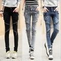Cargo Pockets Jeans Womens Slim 2016 Cotton Push Up Harem Denim Pants Women Skinny Leg Zipper Biker Jeans Black Blue Grey