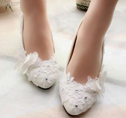 ФОТО White bow butterfly lace wedding shoes for women, TG085 mid low high heels custom made bridal flower girl dance parties shoe