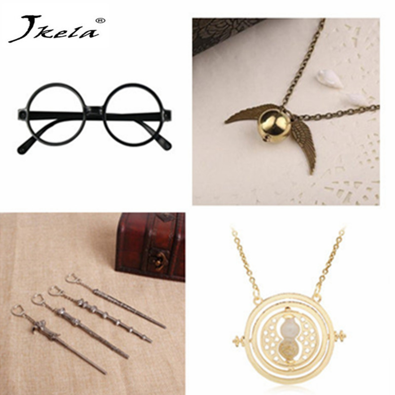 [Jkela] Harry Potter glass Vintage Classic Necklace Alloy Magic Wand Pendant Necklace Keychain Hourglass cosplay action figure
