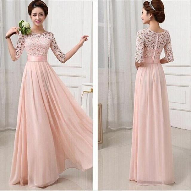 Hlaf Sleeve Pink Lace Floor Length Long Dress Formal Dress Women ...