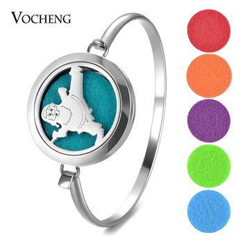10pcs/lot Essential Oil Diffuser Bracelet Stainless Steel Christmas Perfume Locket Bangle 2 Styles without Felt Pads VA-774*10
