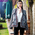 HZLLHX Spring  high end tweed pearl decoration women fashion classic jacket female long sleeves tassel gray jacket S-XL