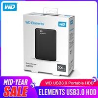 Western Digital WD Elements Portable External hdd 2.5 USB 3.0Hard Drive Disk 500GB 1TB 2TB 3TB 4TB Original for PC laptop
