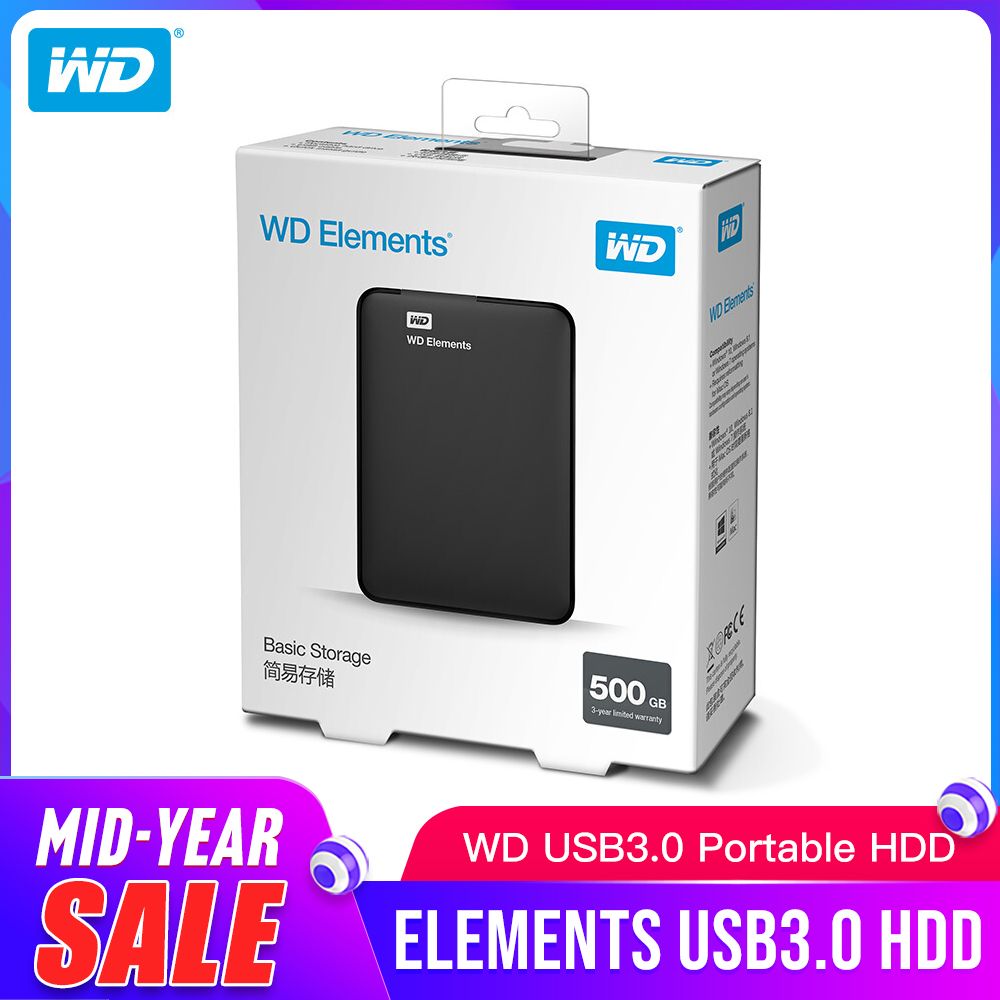 Western Digital WD Elements disque dur externe Portable hdd 2.5 USB 3.0 disque dur 500GB 1 to 2 to 3 to 4 to Original pour PC Portable