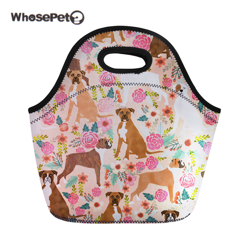 WHOSEPET Girls Thermal Bag Lunch Boxer Dog Women Brand Flower Snack Meal Handbags Childr ...