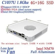 Рекламные мини-пк с windows linux 4 Г RAM 16 Г SSD с Celeron 1037U dual core 1.8 Г HD Graphics DX10.1 поддержка HDCP