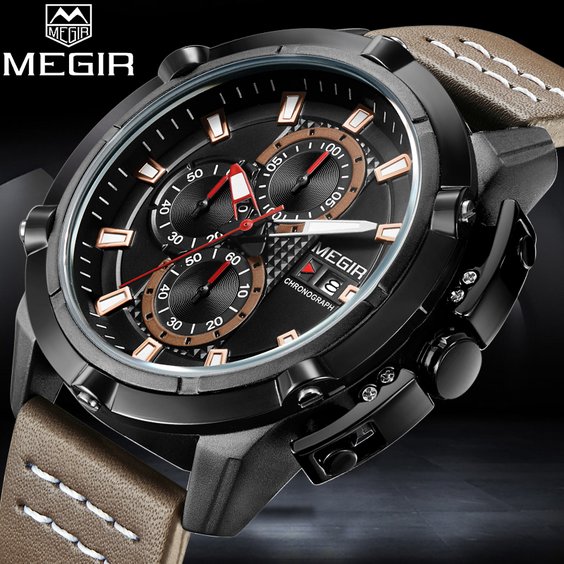 2018 MEGIR Men Quartz Watch Mens Fashion Sport Watches Man Military Waterproof Leather Strap Analog Clock Relogio Masculino weide popular brand new fashion digital led watch men waterproof sport watches man white dial stainless steel relogio masculino