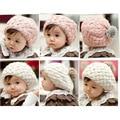 Sombreros de invierno Para Los Muchachos de Bebé Infant Toddler Faux Caliente de Conejo Pompón Niños Fotografie Skullies Gorros de Punto de Ganchillo de la Mano