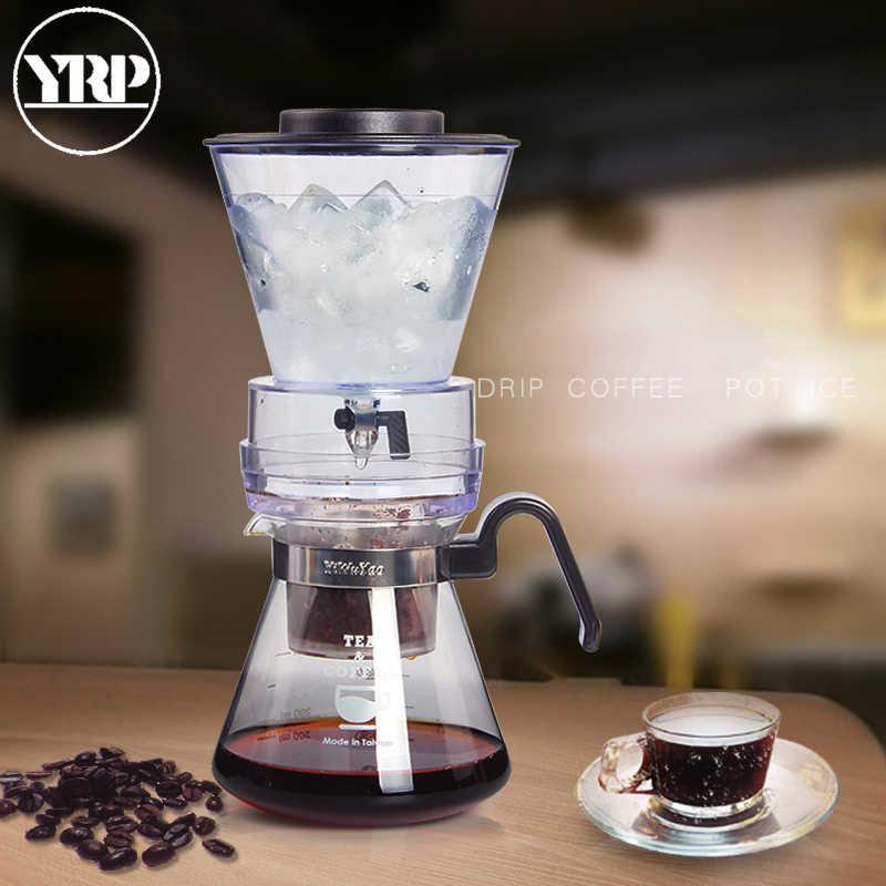 YRP 600ml yeniden kullanılabilir buz soğuk demlemek kahve makinesi hollandalı buz kahve filtresi araçları cam Percolators Espresso kahve damlatıcı Pot