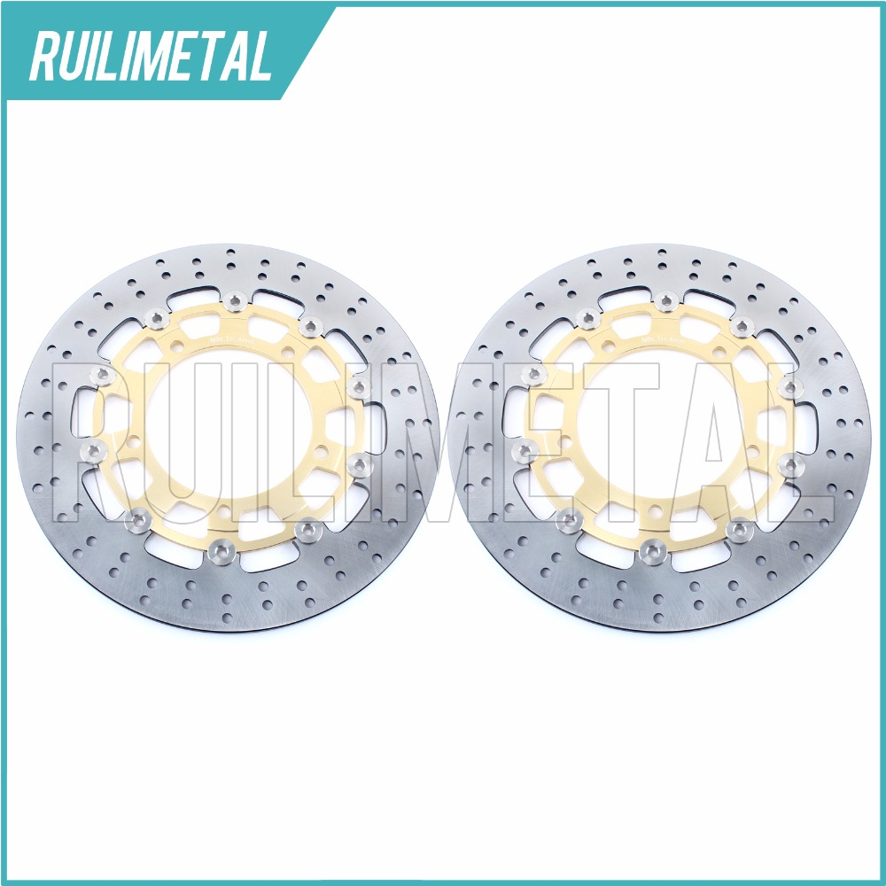 Pair Front Brake Discs Rotors for GSR 400 600 ABS DL 650 V-STROM Traveller X  Xpedition GSF 650  BANDIT S GSX F FA ABS 650 08-14 adjustable short straight clutch brake levers for suzuki gsx 650 f gsf 650 bandit n s dl 1000 v strom 2002 2015