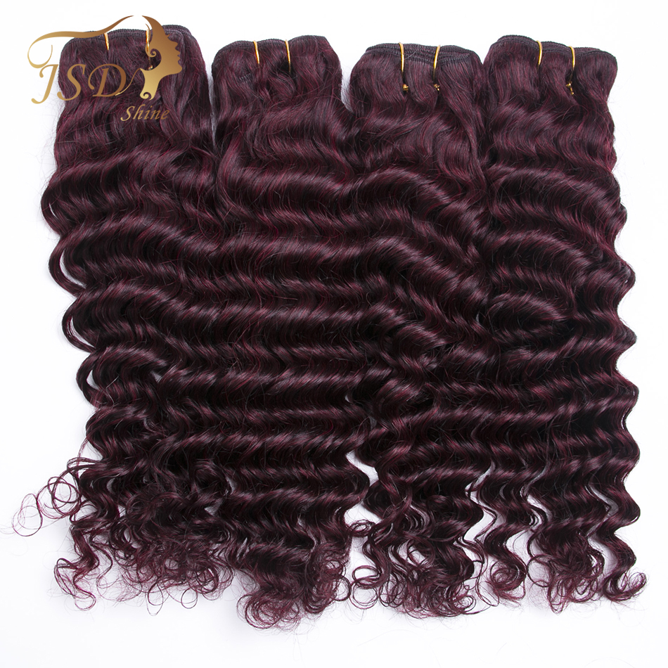 JSDShine Peruvian Hair Deep Wave Burgundy 99J Red Color Human Hair Weave Bundles Double Weft Hair Extension Non Remy 4PC