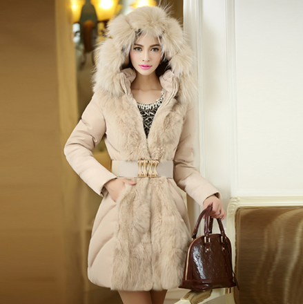 ФОТО Promotion! new 2013 ladies luxury large raccon fur collar coat women slim long down jacket parka women's jackets free ship B1607