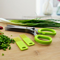 Free shipping 2015 new scallion scissor 5 layers stainless steel blade kitchen vegetable cutter tools baby food chopper