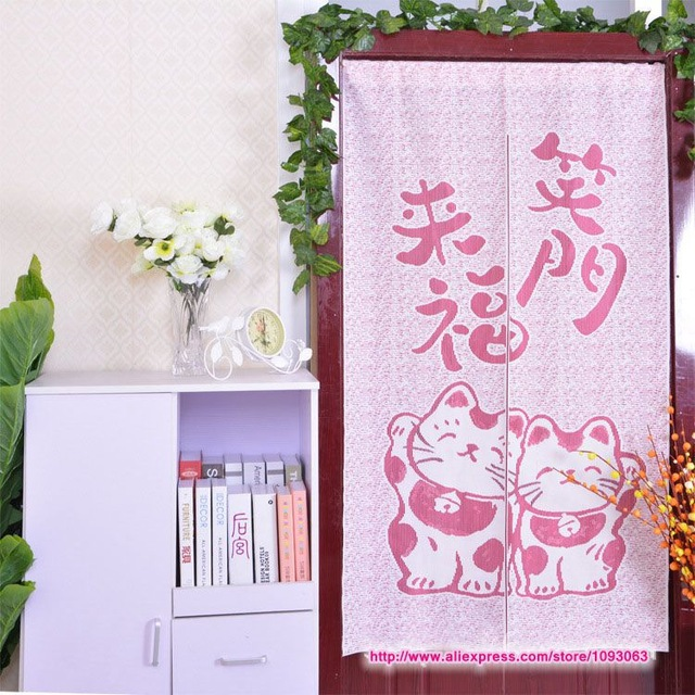 Japanese Maneki Neko Door Curtain Knitting Feng Shui Chinese Lucky ...
