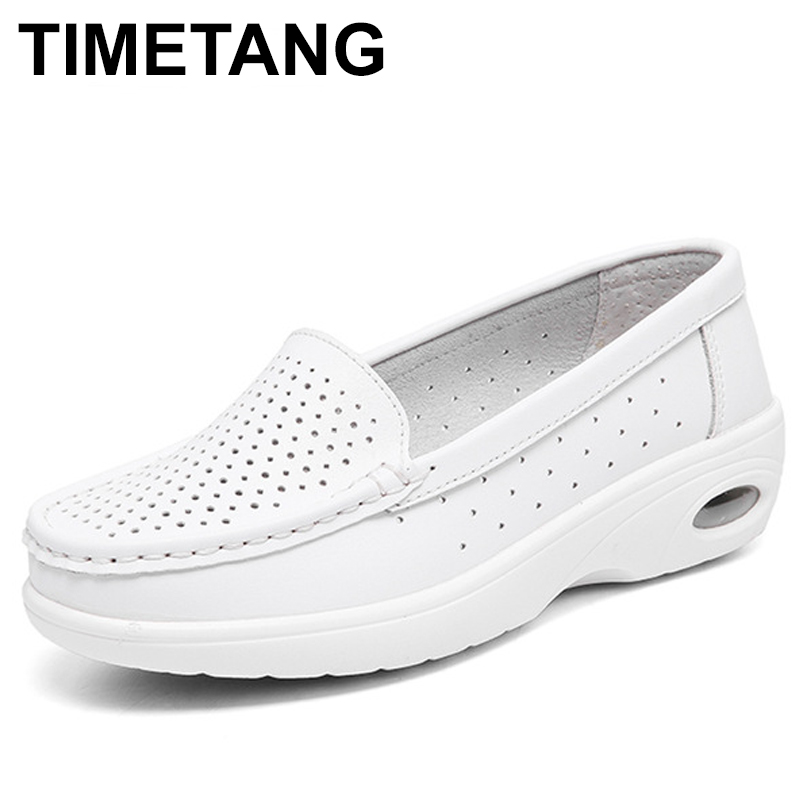 все цены на TIMETANG 2018 White Nursing Shoes Women Comfortable Work Shoes Slip On Casual Medical Shoes For Women Genuine Leather Soft C203 онлайн
