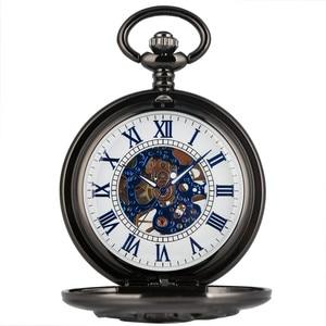 Image 2 - New Arrival 2019 Retro Black Goat Head Design Half Hunter Mechanical Hand Winding Pocket Watch Blue Roman Numerals Pendant Clock