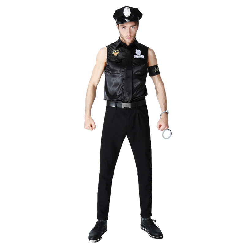 Image 3 - Women Man Cop Costume Halloween Party Black Policewomen Policeman Uniform Police Officer Cosplay Fancy Dress-in Sexy Costumes from Novelty & Special Use
