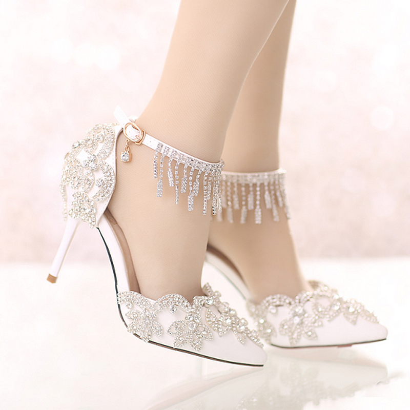 White Pointed Toe Formal Shoes High Heel Bride Dress Shoes with Rhinestone Ankle Straps Summer Sandals Party Shoes Crystal